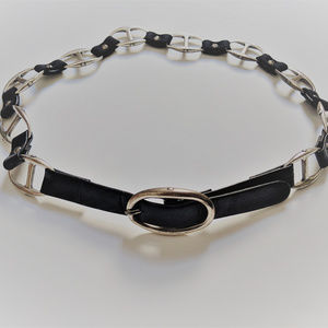 Suzi Roher Buckle Black Leather and Silver Belt